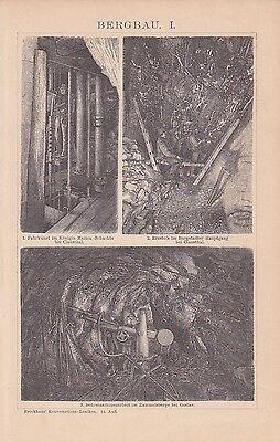 BERGBAU Bergwerk Clausthal Erzabbau Zeche Goslar Rammelsberg HOLZSTICH um 1894 2