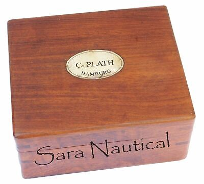 Nautical Brass Antique Sextant Vintage Brass Antique With Wooden Box 3