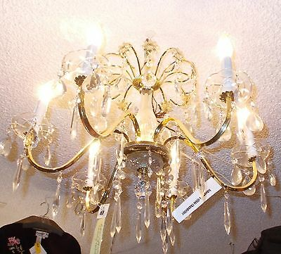 Vintage Schonbeck Gold and Crystal 6 Arm Chandelier:  Bay Area Salvage 3