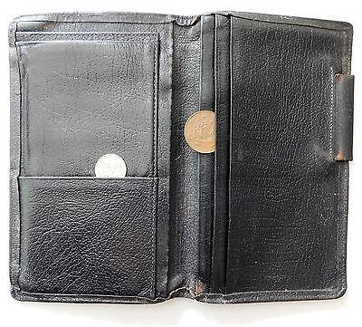 Vintage black leather wallet notebook case monogrammed initials PJH 1950s 1960s