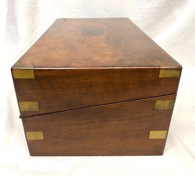 Antique Victorian Walnut & Brass Campaign Writing Box Slope SECRET DRAWERS 6