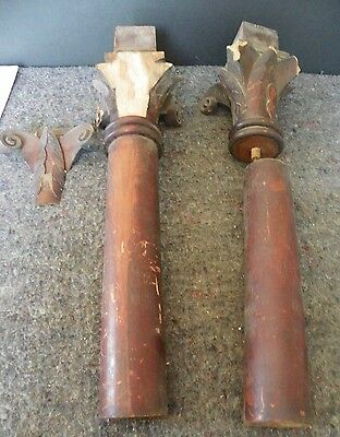 Pair Of Antique Columns With Corinthian Caps (As Is) (2195)