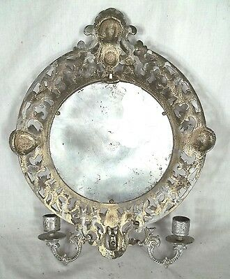 Pair Of Lady Liberty Fancy Cast Iron Double Arm Mirror Back Victorian Sconces 6