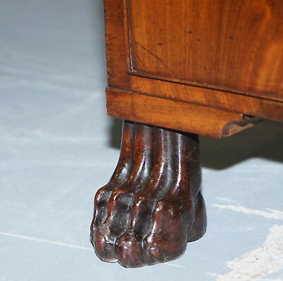 Exquisite Regency Period 1815 Mahogany Kneehole Desk With Lion Hairy Paw Feet 7