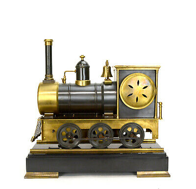 Large French Style 8 Day Brass Automaton Locomotive Industrial Train Clock 4