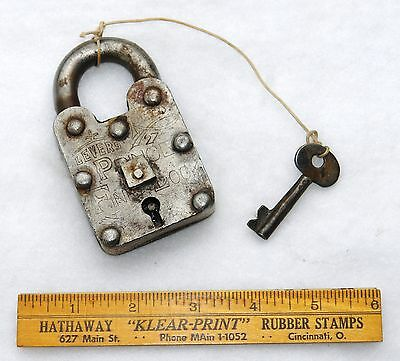 LEVERS REGD. #27 PRINCE FINE LOCK & KEY - Hob Nail - Authentic - Antique 6