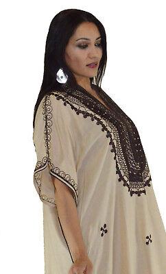 Moroccan Caftan Kaftan Women African Beach Summer Long Dress Beige