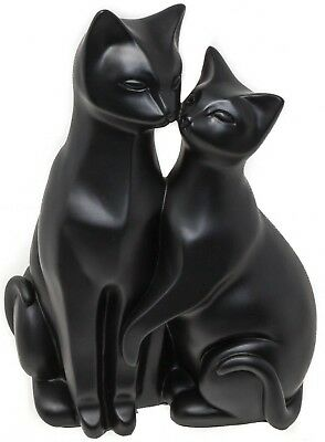 PAIR OF BLACK CATS ORNAMENT STYLIZED CAT FIGURINE - Ideal Gift For Cat Lovers 3