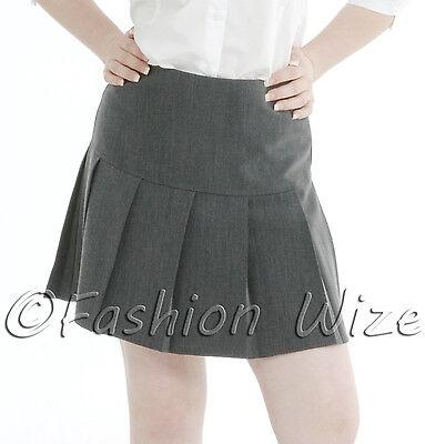 Girls Womens Pleated School Skirt Drop Waist Grey Black Navy Ages 5-16 Size 6-24 3