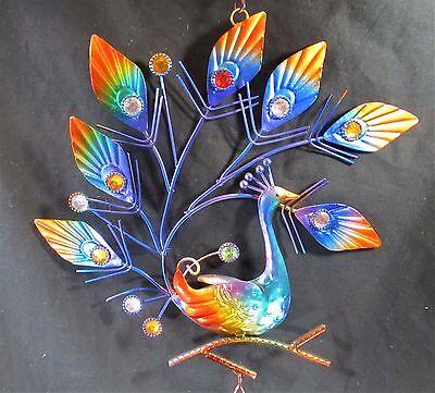 Peacock Metal Hanging Decor with Bell porch or patio ornament(R) 2