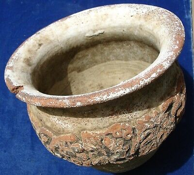 Antique Pottery Planter Hand Turned PolyChrome Finish w Grape Cluster Indian Pot