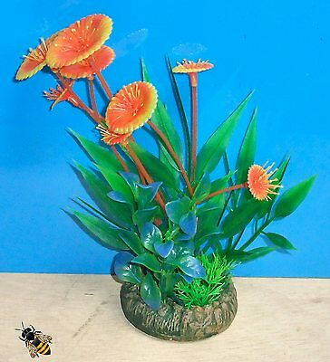 Aquarium Ornament Plant Orange Artificial Fish Tank Bowl Decoration Plastic New 3