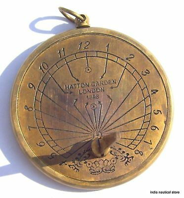 Lot Of 10Pc Vintage Sundial Clock Keychain Antique Brass Maritime Key-Ring Gift 3