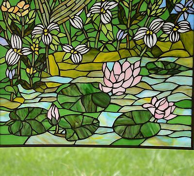 "24"" x 36"" Lily Pond Lotus Tiffany Style stained glass window panel 5"