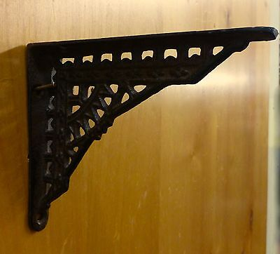 "4 SMALL BROWN ANTIQUE-STYLE 5"" CAST IRON SHELF BRACKETS garden rustic EASTLAKE 4"