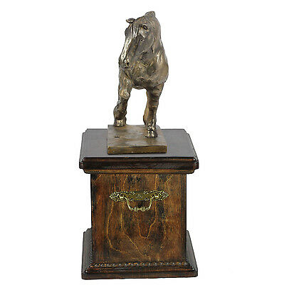 Beautiful solid wood casket with Bronze Statue -Belgian  Horse cremation Urn (2) 2