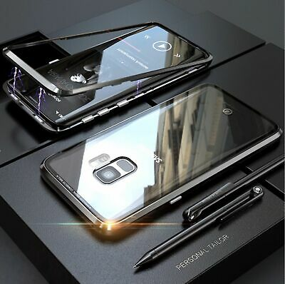 For Samsung S10//S9/S8 Note10 Plus 8/9 Magnetic case Metal Tempered Glass Cover 6