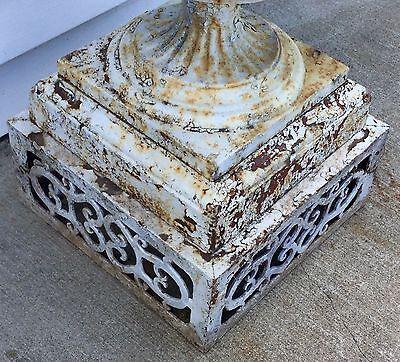 Old Vtg Antique Cast Iron Ornate White Chippy Paint Garden Cemetary Planter Urn 3