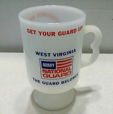 Milk Glass (vintage) Coffee cup West Virginia , Army National Guard logo, USA 5