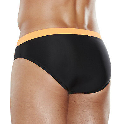 682245ed42 ... Speedo Mens Swimming Briefs.contrast 7Cm Black Orange Swim Trunks  Swimmers 8S 38 2