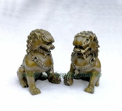 Chinese Brass Copper Animal Feng shui Foo Dog Lion town house Statue pair 14.5cm 4
