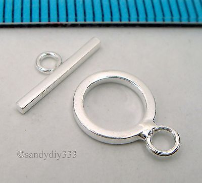 2x BRIGHT STERLING SILVER SIMPLICITY PLAIN ROUND TOGGLE BEAD CLASP 9.6mm N404