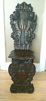 18th century Italian Renaissance Lion Carved Walnut Sgabello Hall Chair 2