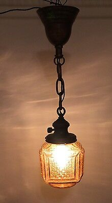 "20"" Long Vintage Antique Pendant Light Yost Socket Carmel Color Glass Globe 5"