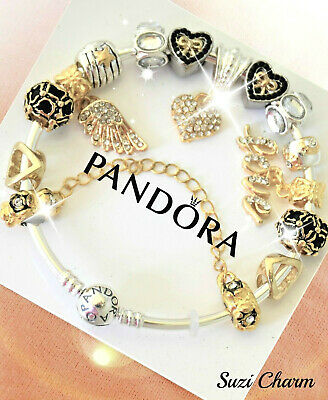 Authentic Pandora Bracelet Silver with 15 bead European charms Gold Heart New 3
