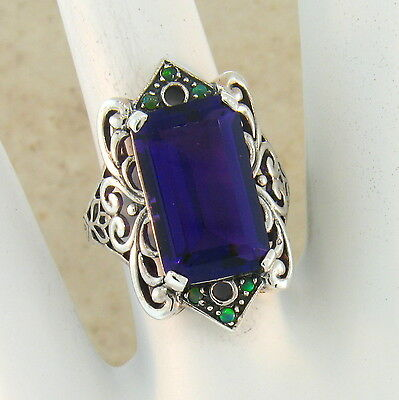 6 Ct. Lab Amethyst Antique Victorian Style 925 Sterling Silver Ring Size 10,#465 4