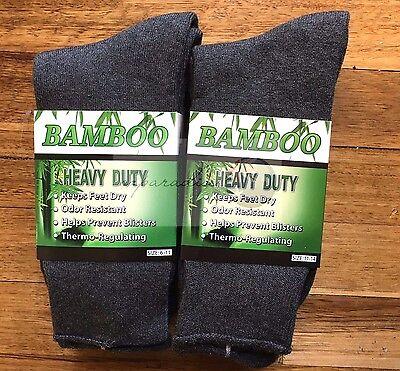 6 Pairs 98% BAMBOO SOCKS Men's Heavy Duty Premium Thick Work BLACK/Navy/Grey 7