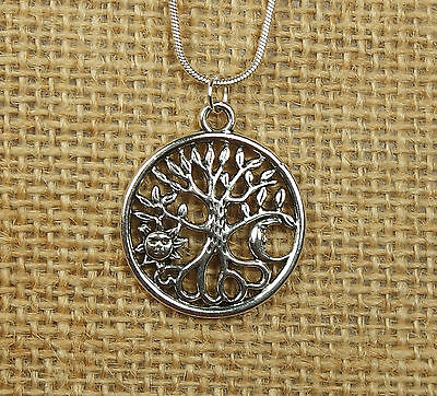 Sun & Moon Tree of Life Necklace, for Men or Women, Celestial Roots TOL Pendant 4