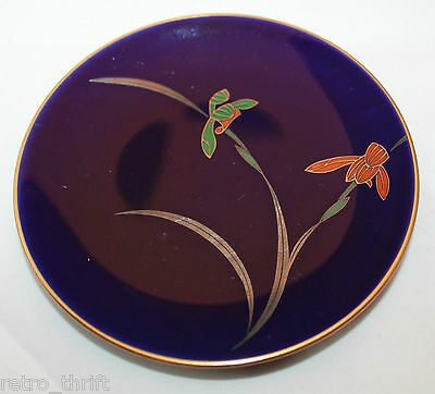 Japan Fukagawa Koransha Gold Trimmed Cobalt Blue 3 Small Plate Dish Set  Iris