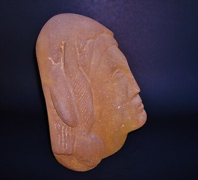 """Two Carved Heads on a very Heavy 12"""" W x 10"""" H x 7"""" D Sandstone 2"""