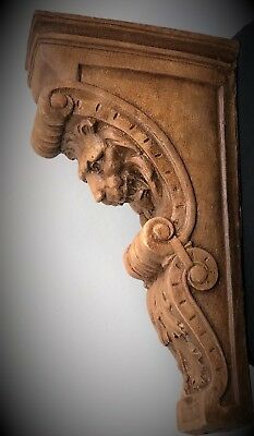 Pair Narrow Lion Face Scroll Corbel Brackets Architectural Accent Wood Stained 2