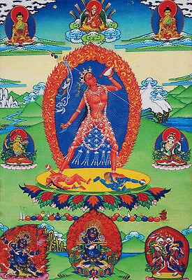 SILK BROCADED BLESSED Golden Wood Scroll Tibetan Thangka
