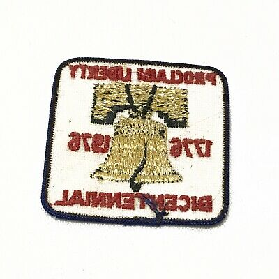 Vintage Iron On Patch Embroidered Liberty Bell Bicentennial 1976 Square White 2