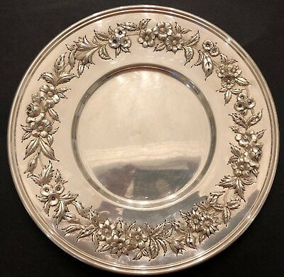 Big S. Kirk & Son Hand Decorated Sterling Silver Sandwich Plate 3