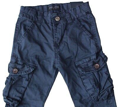 Pantaloni bambino cargo jeans primav.estate tasconi polsino cotone tg.4/14 Anni