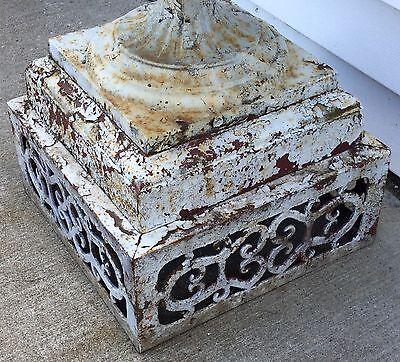 Old Vtg Antique Cast Iron Ornate White Chippy Paint Garden Cemetary Planter Urn 4