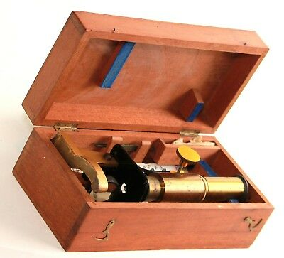 Old microscope in mahogani box