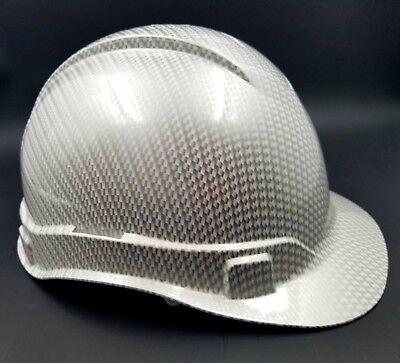 HARD HAT CUSTOM hydro dipped , OSHA approved WHITE METALLIC CARBON FIBER NEW