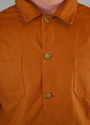 Various Sizes 60s Style French Duck Brown Cotton Canvas Chore Jacket