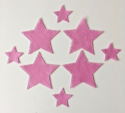 4 LARGE 4 SMALL DIE CUT FELT STARS FOR CRAFTING PROJECTS