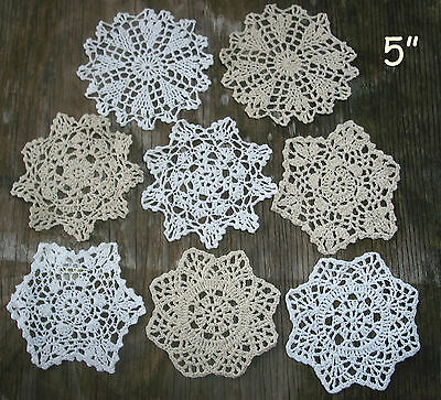 "lot of 14 Hand Crochet Doilies 5""-7""-14"" Wht & Natur VTG Wedding Tea Party NEW 3"