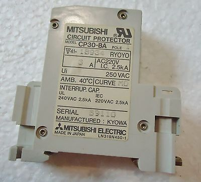 6 Mitsubishi Circuit Protector Model# Cp-30-Ba, 1 Pole, Made In Japan 2
