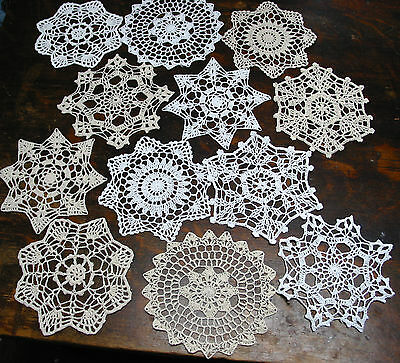 """lot of 12 Hand Crochet Doilies 7"""" White & Natural Vintage Wedding Tea Party NEW"""