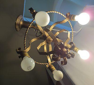 Antique Brass Chandelier 5 On Off Light Fixture  Art Deco Rewired 10