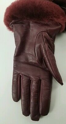 $110 UGG Leather Logo Gloves Size Small Real Fur Cuffs Port Red New 8