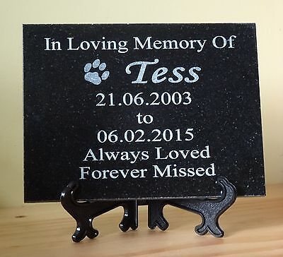 Personalised Engraved Pet Dog or Cat Memorial Plaque Natural Granite 20 x 15cm